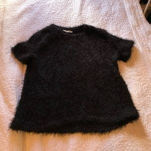 Fuzzy Black Short Sleeve Top from Zara